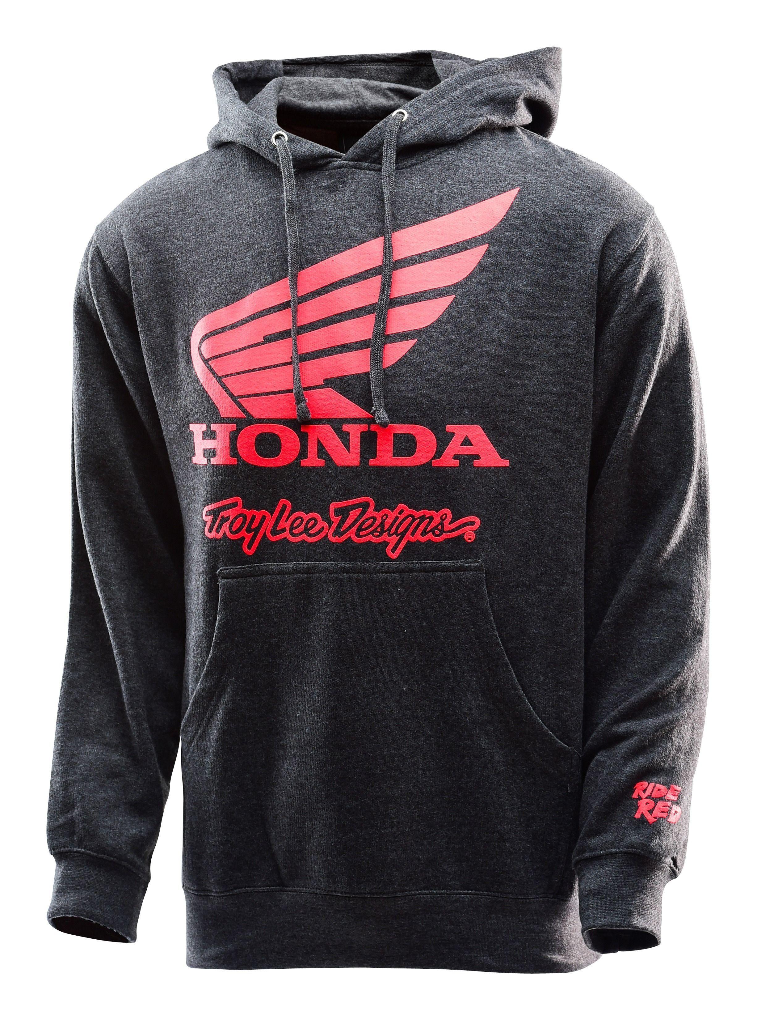 f8d7f4b8f0ff9 Sudadera con capucha gris Troy Lee Honda WING con logo de honda en color  rojo